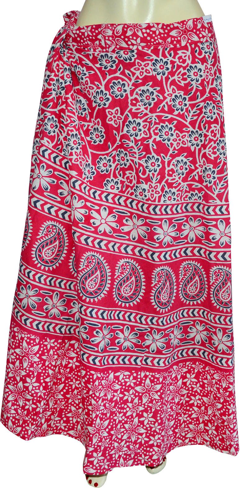 Marusthali Printed Womens Wrap Around Red, White, Blue Skirt