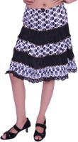 Jevaraz Printed Womens Regular White Black Skirt