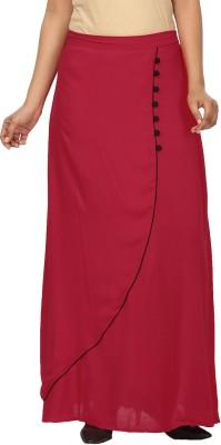 Pops N Pearls Solid Women's Tulip Red Skirt