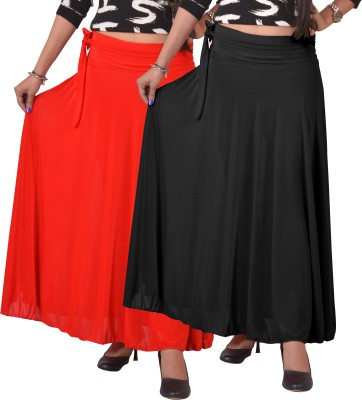 Ace Solid Women's A-line Black, Red Skirt