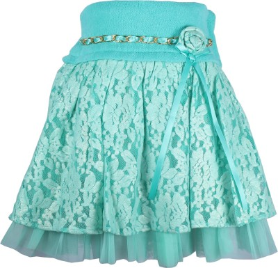 Cutecumber Embellished Girl's A-line Light Green Skirt
