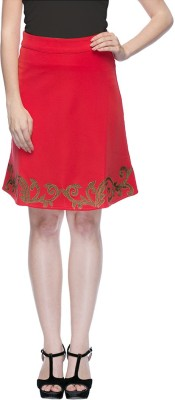 Aaliya Solid Women's Straight Red Skirt