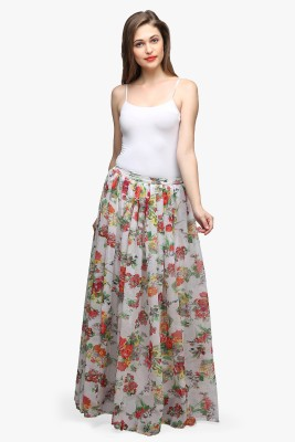 Cation Printed Women's Gathered White Skirt