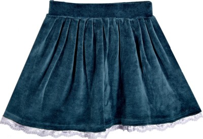 Lil Orchids Solid Girl's Gathered Green Skirt