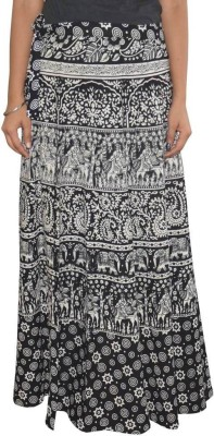 Dimpy Garments Animal Print Women's Wrap Around Black, White Skirt