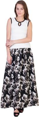 Essential Elements Floral Print Women's Gathered Black Skirt
