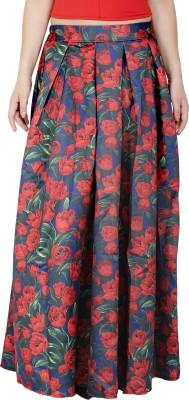 Svt Ada Collections Floral Print Women,s Regular Dark Blue Skirt