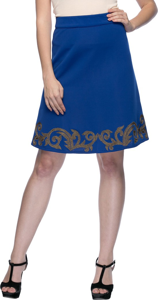 Aaliya Solid Womens Straight Dark Blue Skirt