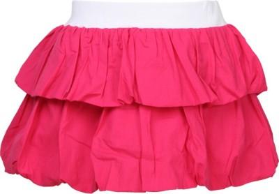 Cool Quotient Self Design Baby Girl's Regular Pink Skirt