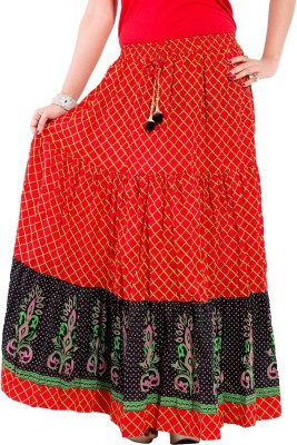 Decot Paradise Printed Women's Regular Red Skirt