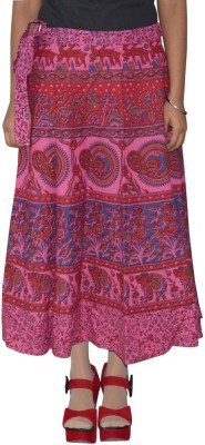 Shreeka Printed Women's Wrap Around Pink, Blue Skirt
