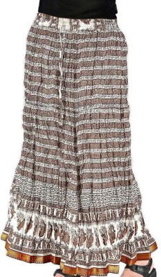 Jaipur Raga Floral Print Women's Regular Brown Skirt