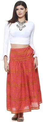 Aana Printed Women's Straight Pink Skirt