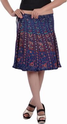 Indi Bargain Floral Print, Printed Women's Wrap Around Blue Skirt