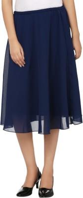 Tops and Tunics Solid Women's Regular Dark Blue Skirt