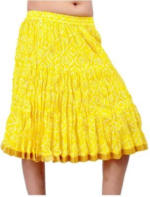 Jaipur Raga Printed Women's Regular Yellow Skirt