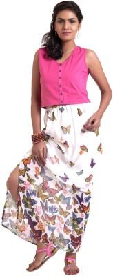 ZUZIZ Printed Women's Straight White Skirt