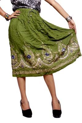 Krishna Mart Embroidered Women's Regular Green Skirt