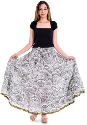 Halowishes Printed Girls Wrap Around White, Black Skirt