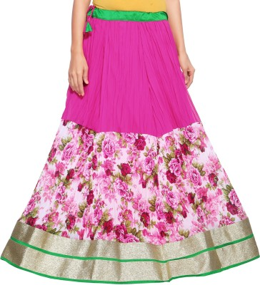 Admyrin Printed Women's Wrap Around Pink Skirt at flipkart