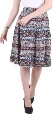 Hotberries Printed Women's Regular Blue, Black Skirt