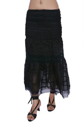 Jaipur Kala Kendra Solid Women's Straight Black Skirt