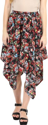 TheGudLook Printed Women's Asymetric Multicolor Skirt