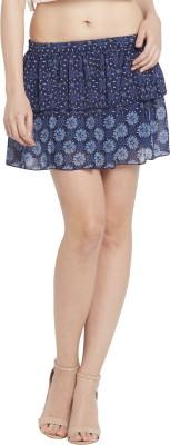 Globus Floral Print Women's Regular Blue Skirt