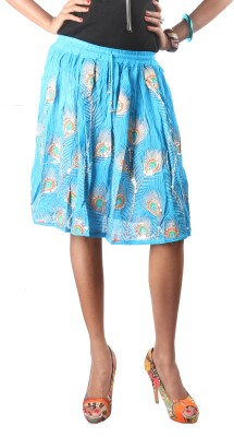 Indiankala4u Printed Women,s Broomstick Blue Skirt