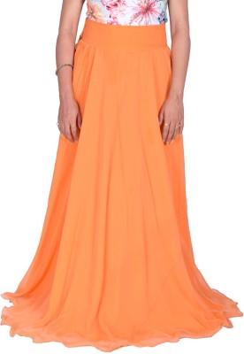 Kaaj Designs Solid Women's Pleated Orange Skirt