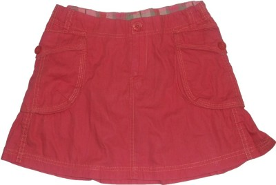 Red Rose Woven Girls Wrap Around Pink Skirt