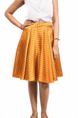 Fadjuice Polka Print Women's Pleated Yellow Skirt