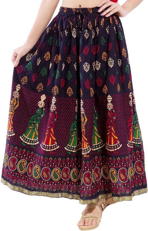 Magnus Self Design Women's Regular Blue Skirt