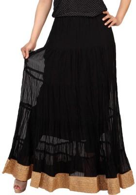 Carrel Solid Women's Wrap Around Black Skirt