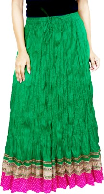 Rangreja Solid Women's A-line Green Skirt