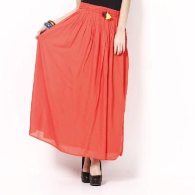 ShopperTree Solid Girl's Gathered Orange Skirt
