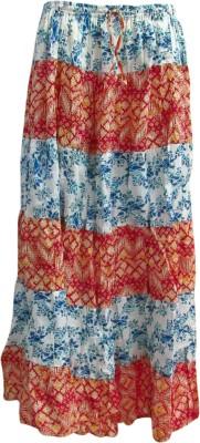Revinfashions Floral Print Girl's Wrap Around White Skirt