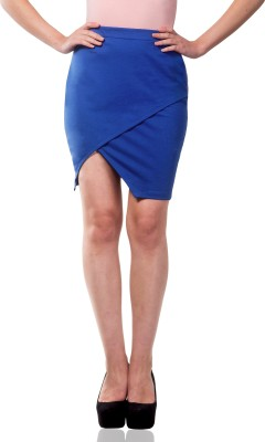 Miss Chase Solid Women's Wrap Around Blue Skirt