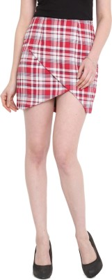 Pera Doce Checkered Women's A-line Red Skirt