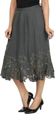 Gossip Girls Embroidered Women's Regular Grey Skirt