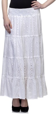 One Femme Embroidered Women's A-line White Skirt