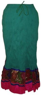 Rajasthani Virasat Solid, Embroidered Women's Regular Green, Multicolor Skirt