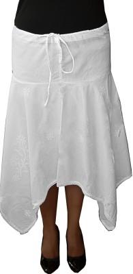 Chikanbarn Solid Women's Asymetric White Skirt