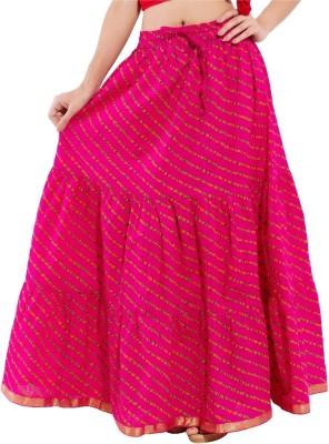 Aanvi Striped Women's Regular Pink Skirt