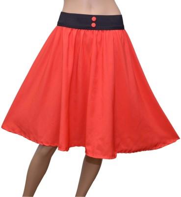 GraceDiva Solid Women's Gathered Orange Skirt