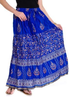 Ooltah Chashma Printed Women's Broomstick Blue Skirt