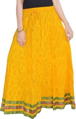 Prateek Exports Floral Print Women's Regular Yellow Skirt
