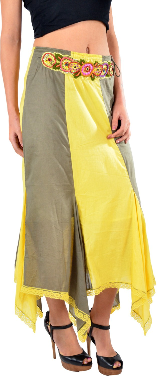 Striyah Couture Embroidered Womens Gathered Yellow Skirt