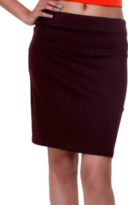 TRYFA Solid Women's Pencil Brown Skirt