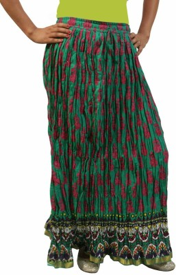Saffron Craft Printed Women's Gathered Green Skirt